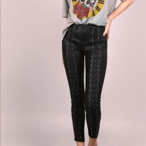 Leather Print Laced Up Jeggings